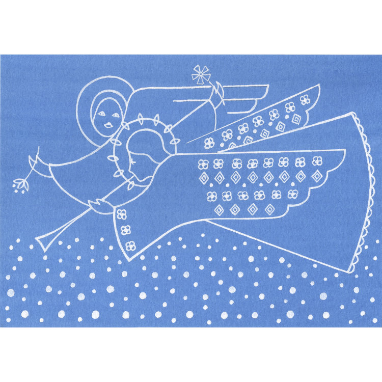 Fine art Christmas card design with outlines of two white angels in flight against a blue sky