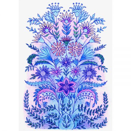 Fine art greetings card with symmetrical design of purple flowers and blue leaves
