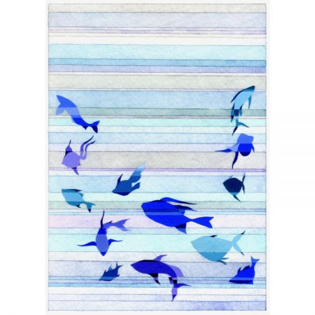 Fine art greetings card painting of blue fish against background of stripes in shades of blue, grey and turquoise