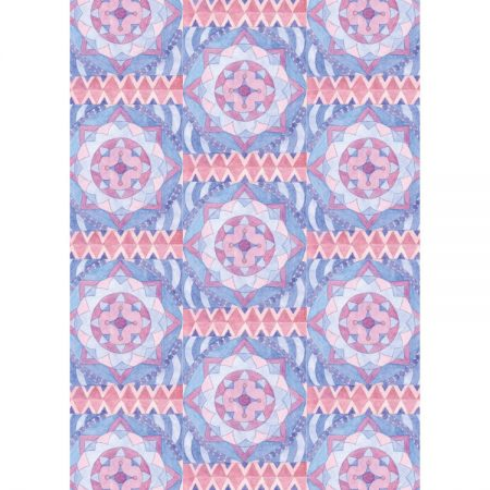 Fine art greetings card textile design with repeating pattern of round shapes and geometric borders in pink, mauve and blue