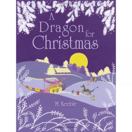Front cover picture of children's book with the moon and snow and a village scene in purples