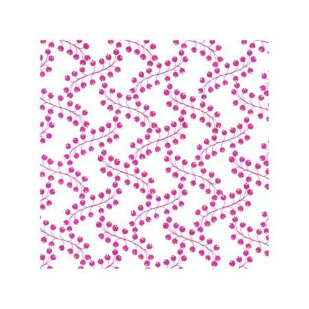 Greetings card with 1970s textile design showing pink berries in repeating helix pattern