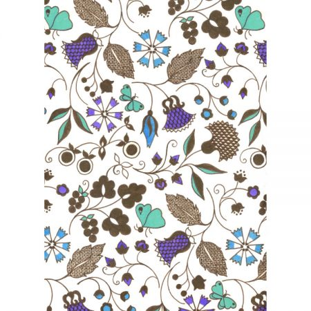 Greeting card design of 1970s textile pattern with green butterflies, purple flowers and chocolate-brown foliage