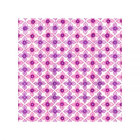 Greetings card design with textile pattern of criss-cross pink and mauve floral motifs