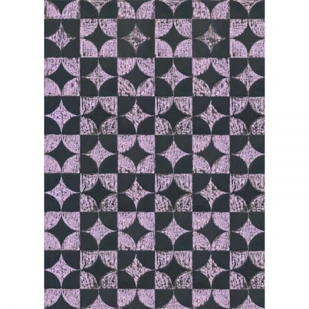 Greetings card design with 1950s wallpaper design in optical pattern of mauve and black shapes