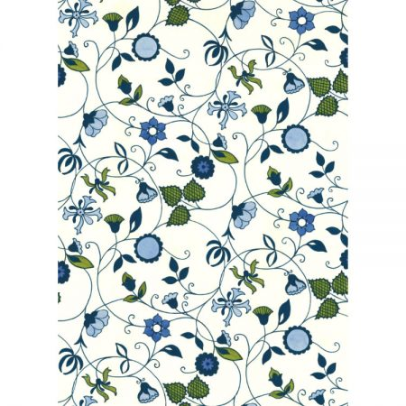 Greetings card design with 1970s textile pattern featuring olive green leaves and blue flowers