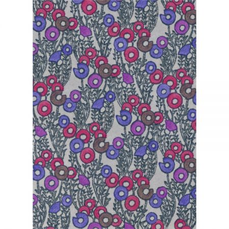 Greeting card with 1970s textile design with fuchsia, purple and indigo rings on dove-grey background