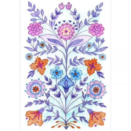 Greeting card symmetrical design of pink, purple, blue and orange flowers with purple and blue leaves