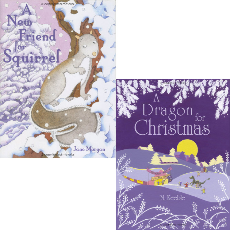 Two children's book covers - squirrel in snowy trees and snowy village scene with dragon against purple night sky