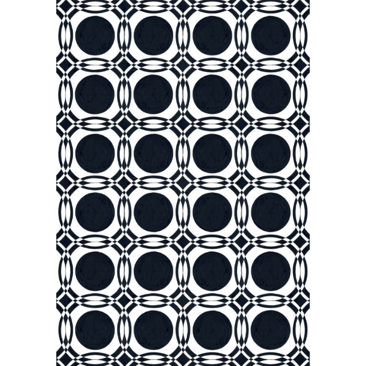 Fine art print of black circles and white intersections 1950s wallpaper design