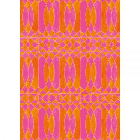 Greeting card with 1950s wallpaper design in bright pink and hot orange intersecting shapes