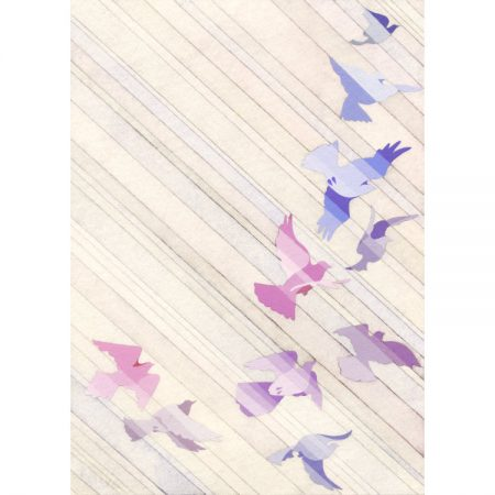 Greeting card design with pink, purple and blue birds in flight