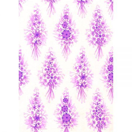 Greetings card with 1970s textile design of small pink and purple flowers in spray arrangements