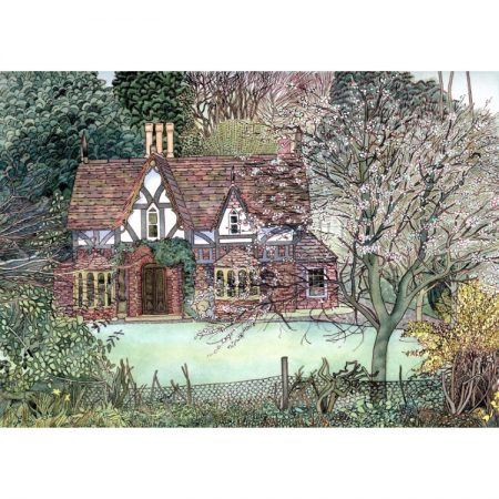 Greetings card with painting of Victorian country cottage in gardens with lawn, blossom tree, yellow forsythia and green shrubs