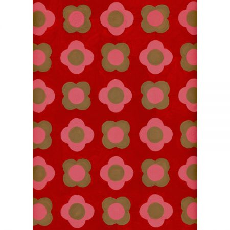 Greetings card with 1950s wallpaper design featuring pink tudor roses and beige quatrefoils on a red background