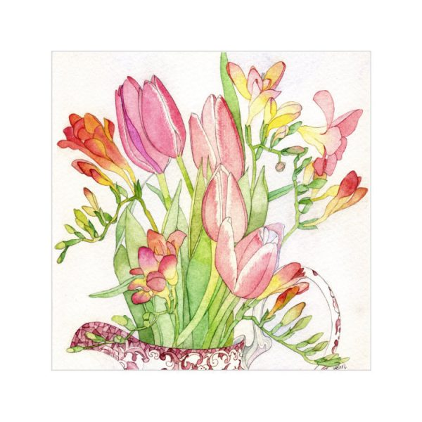Greetings card with watercolour painting of pink tulips and yellow and pink freesias in a red and white china jug and green leaves