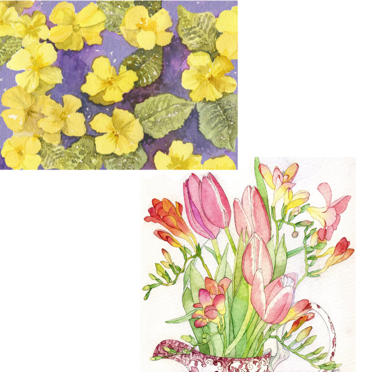Two greetings cards designs, one with yellow primroses on a purple background, the other a bunch of tulips and freesias in a china jug
