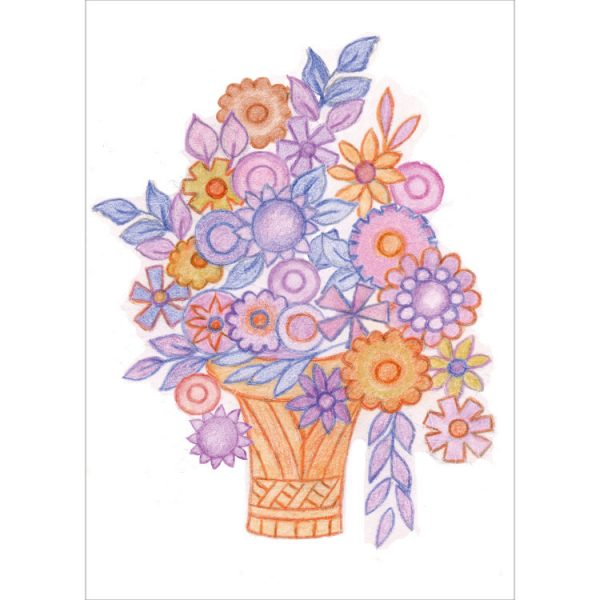 Greetings card design with basket and flower heads in purple and orange with purple and blue leaves