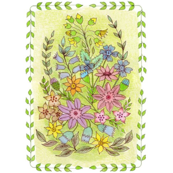 Greetings card design of hadn drawn spring flowers in a border of green leaf garlands