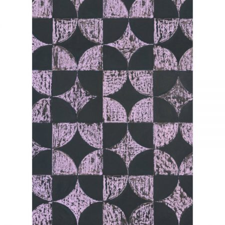 Greetings card with 1950s wallpaper design of black and purple squares and intersecting circles and diamonds