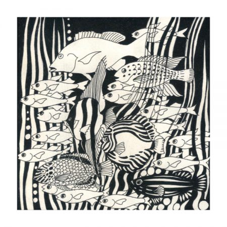 Greetings card design with black & white illustration of stylised fish and seaweed