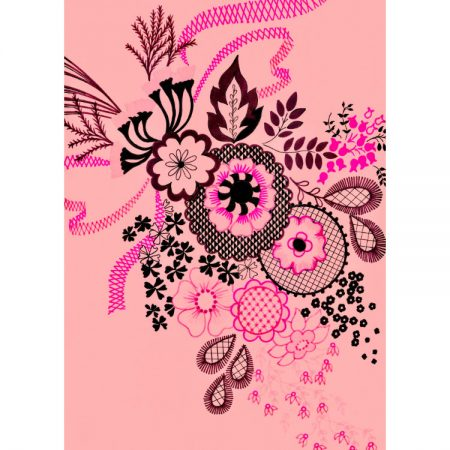 Greetings card with 1970s textile design of lace-style black and pink flowers on pink background