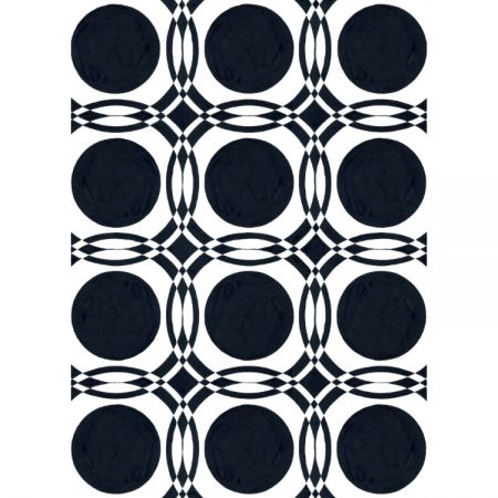 Greetings card with 1950s wallpaper design of black circles on white background and intersecting borders