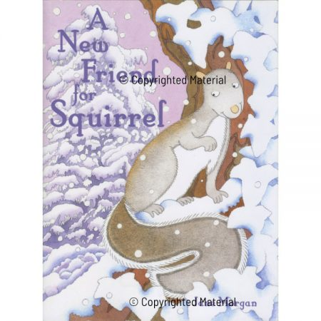 Front cover picture of children's book with grey squirrel in tree against purple sky and snow-covered trees