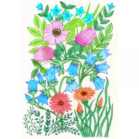 Greetings card design with pen & ink and crayon drawing of bright pink, blue and red flowers and bright and dark green foliage