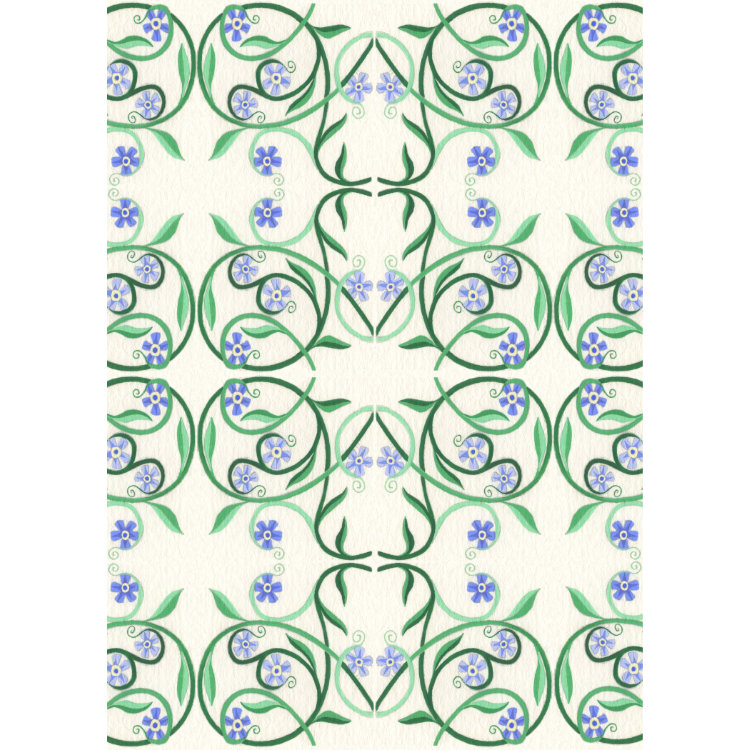 Greetings card with repeating design of swirling green lines around blue forget-me-not flowers