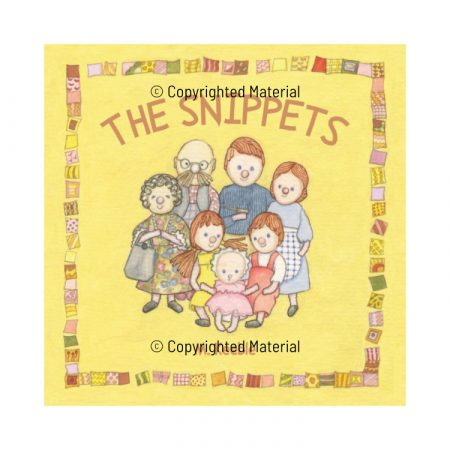 Front cover design of The Snippets children's book with family of dolls and title on yellow background